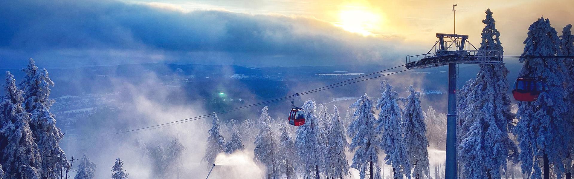 Sonnenuntergang im Harz im Winter